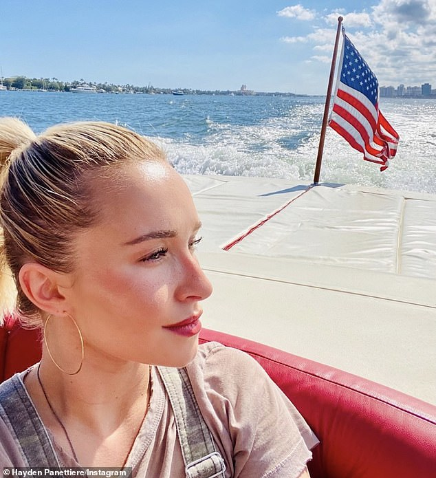 Last sighting: Hayden was last seen in January when she posted a photo of herself getting some air during a boat ride on a sun-flecked day. 'Grateful,' she captioned the image of herself gazing peacefully