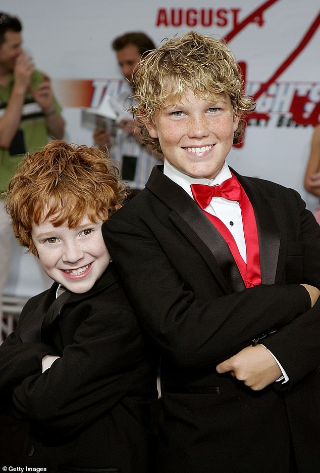 Child star: He appeared in the Will Ferrell-fronted comedy in 2006, seen above at the premiere with actor Grayson Russell to the left