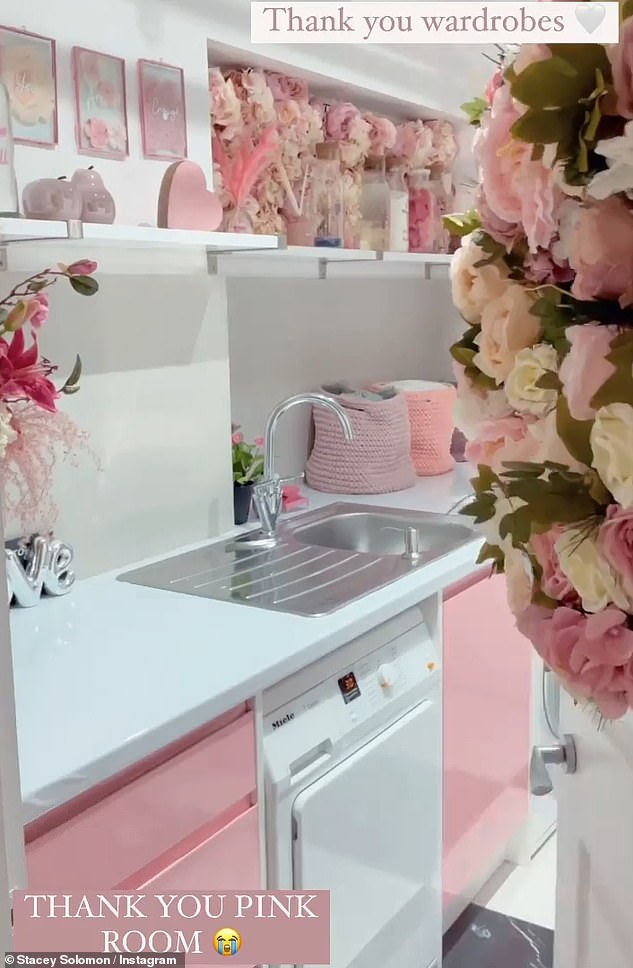 One last look: Stacey also did her famous 'Tap To Tidy' click showing her beloved pink laundry room transformed back to its original state