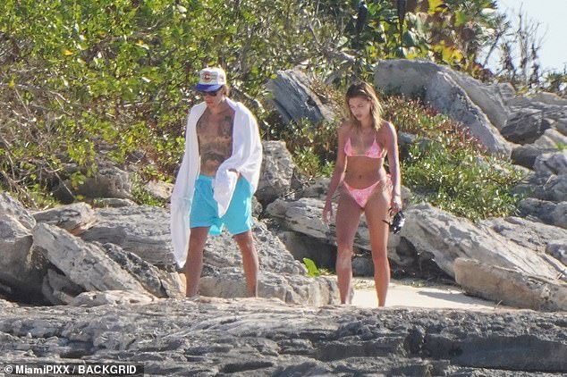 Just the two of us: Justin Bieber was intent on rest and relaxation with the one he loves the most, wife Hailey, as he soaked up the sun in Turks and Caicos