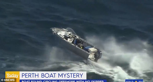 Water Police responded to the incident near Alkimos, north of Perth, at about 2pm on Wednesday after a fisherman spotted the dinghy circling out-of-control