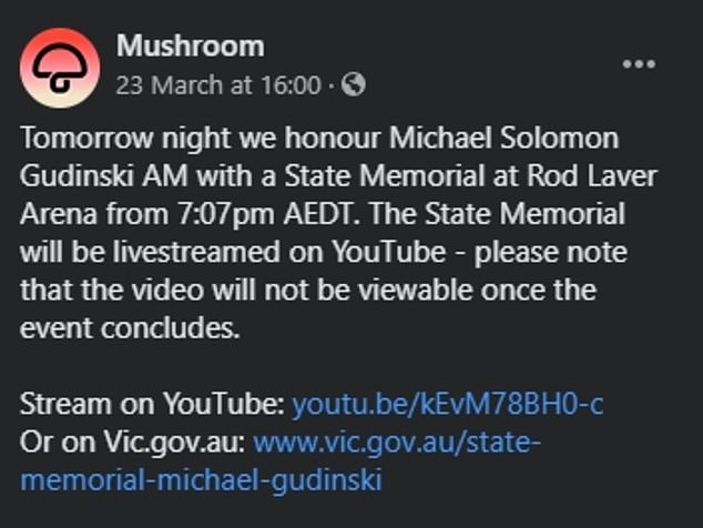 Advanced notice: Mushroom Records, the record company Gudinski founded in 1972, announced on Facebook earlier this week the memorial would only be livestreamed on YouTube and would not be available to watch afterwards