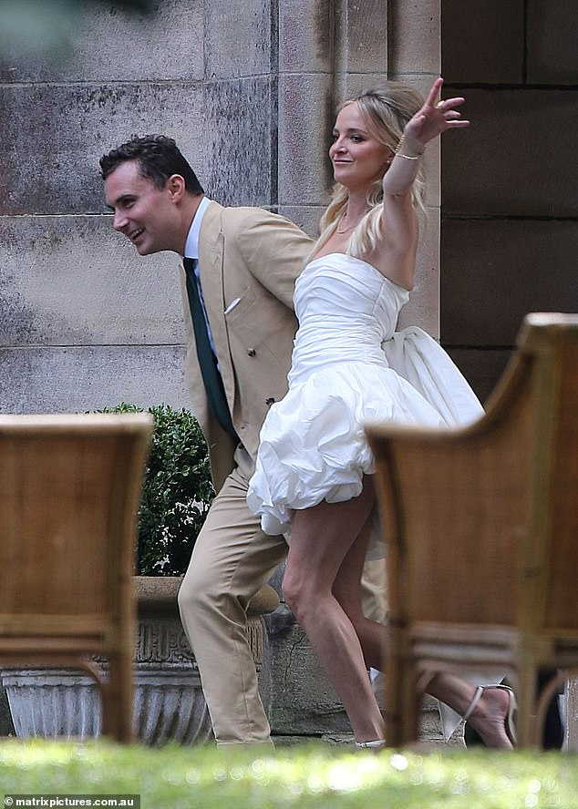 Just married: Nadia Fairfax andMichael Wayne (both pictured) were wed in a no-expense-spared ceremony at Swifts, a heritage-listed late-Victorian Gothic Revival mansion in Sydney