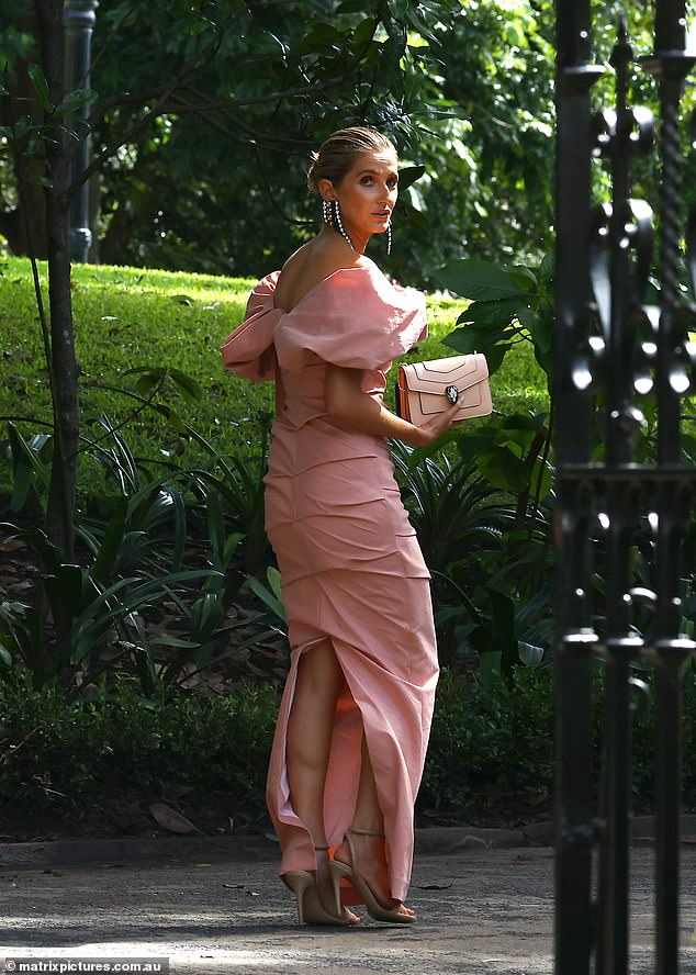 Society wedding: Kate Waterhouse was one of the famous faces in attendance at Sydney socialite Nadia Fairfax's wedding to financier Michael Wayne on Thursday