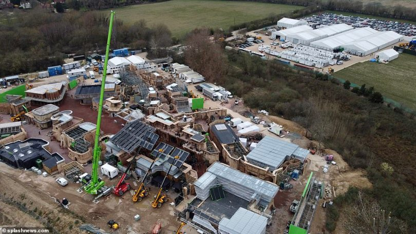 Extensive:A huge green crane could be seen looming over the set, which was recently noted by Virgin Radio host Chris Evans during a recent radio show, who said he had spotted the set