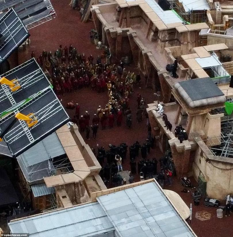 Star Wars shooting:New images of the set show Empire Stormtroopers lining the streets as a meeting takes place in the centre of the makeshift village, which has been erected in an unused quarry in the area