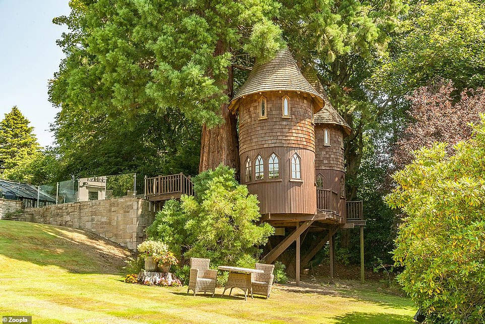 We pick four tree houses for sale, including this luxury version (scroll down for more details) at a six-bedroom property for sale in Corbridge, Northumberland