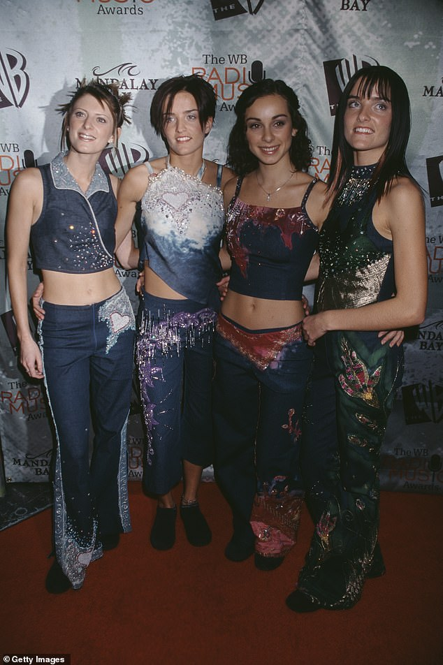Edele, who found fame in Irish band B * witched, said there was 'no support at all' in the music industry.  Pictured: Sinead O'Carroll, Edele Lynch, Lindsay Armaou and Keavy Lynch in 1999