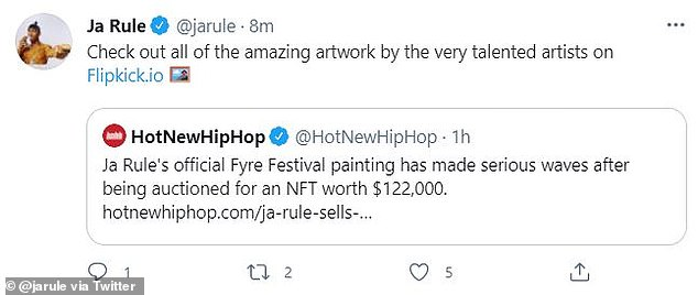 Ja Rule used social media to promote the sale as an example of the art available on his NFT exchange Flipkick