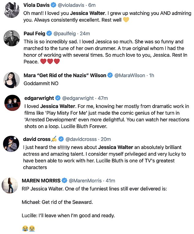 Sad: The celebrity tributes to Walter were posted throughout social media