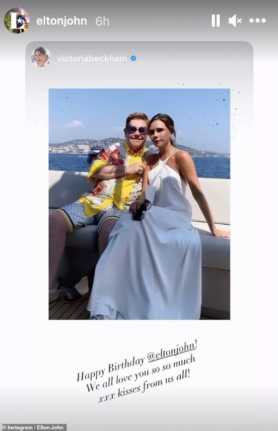 Lovely: Victoria Beckham led the singer's famous friends by wishing him a great day as she shared a beautiful throwback photo of them on a boat together