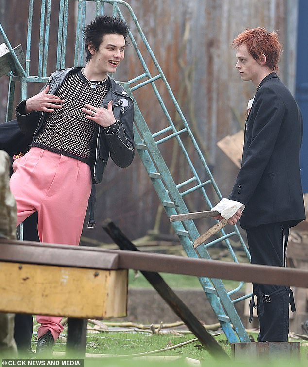Filming:Louis andAnson pictured as their charactersSid Vicious, left, andJohnny Rotten, right