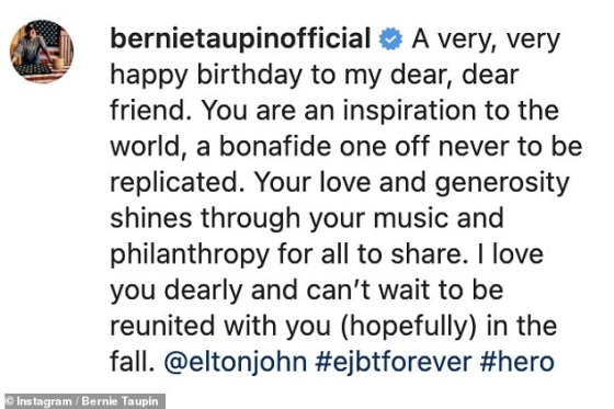 Bernie wrote: 'I love you dearly and can't wait to be reunited with you (hopefully) in the fall'