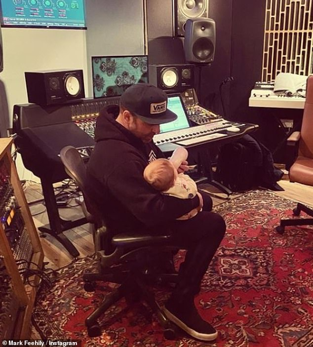 Doting daddy:The singer, 40, welcomed daughter Layla with fiancée Cailean O'Neill in October 2019 and was keen to be a hands-on dad, bringing his daughter to work with him