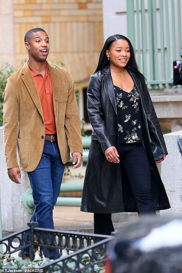 Chante's look:His co-star was wearing a stylish black floral print top under a black leather jacket plus black pants and grey flip flops