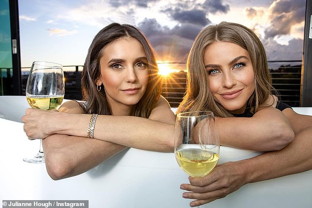 Cheers:Julianne and best friend Nina Dobrev announced their low-calorie, low-carb vegan line of wines Fresh Vine Wine late last month, promising people a guilt-free way to sip