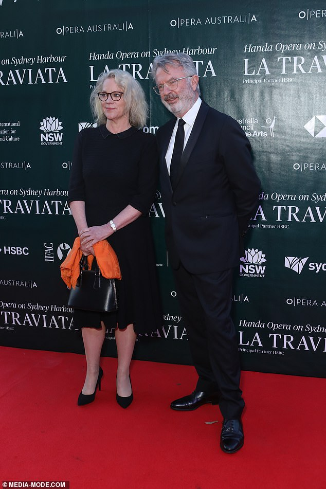 Friendly!Actor Sam Neill and political journalist Laura Tingle attended together, despite having reportedly split last month. Both pictured