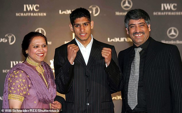 Brave: Amir told his fans about his mother's cancer battle on Instagram in January when he asked them to 'keep her in your prayers' (pictured in 2005)