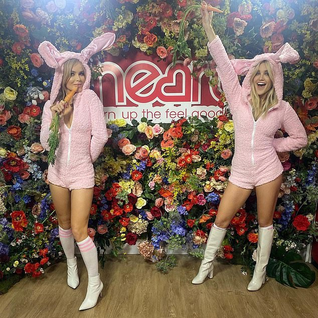 'Bunny hunni': Amanda showcased her svelte physique in the fluffy costume, which showcased her toned pins as she posed for the snaps