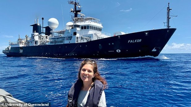 Australian and American experts have just spent 28 days at sea on the research ship Falkor (pictured, with expedition leader Derya Gürer in the foreground) mapping the depth of the ocean floor in the extreme northwest of Zealandia, in the Coral Sea Marine Park.