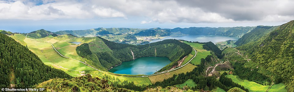 LAGOA DE SANTIAGO, SETE CITADES, SAO MIGUEL ISLAND, AZORES, PORTUGAL: 'The Lagoa de Santiago fills one of the cones that arose in the caldera of the Sete Citades Massif, an ancient stratovolcanic complex at the western end of Sao Miguel Island,' writes Ford. 'The caldera is dominated by the twin lake of Lagoa das Sete Citades (seen in the background), which is said to have been created by the tears of two young lovers forbidden to see each other by the king'