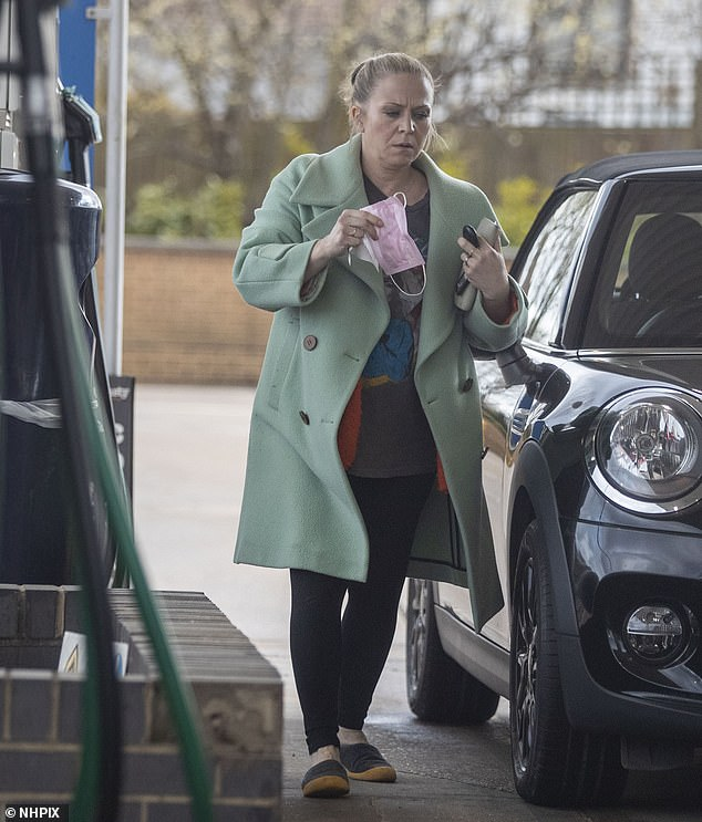 Relaxed: The EastEnders star cut a casual figure as she donned an oversized green jacket and black leggings
