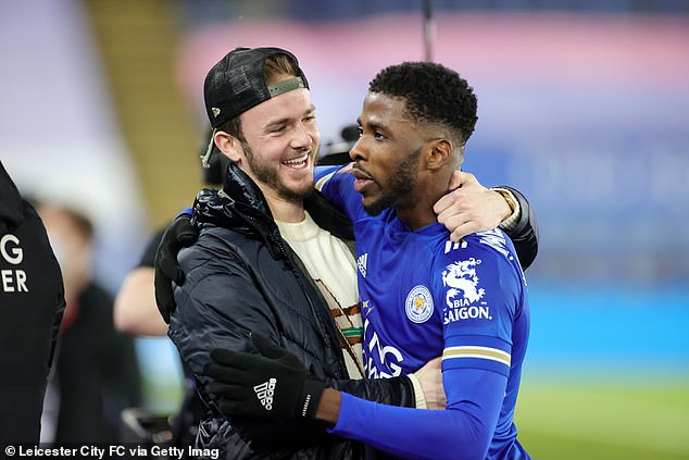 Iheanacho is a popular figure, though he is not particularly brash (pic with James Maddison)