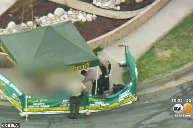 Police at the murder scene in San Dimas, LA, on Thursday. The woman was walking her dog when she was randomly attacked