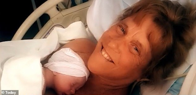 Healthy: Barbara gave birth to Jack at Concord Hospital on Saturday after three hours of labor