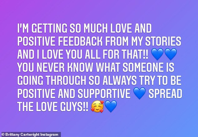 Spread the love: In response to her words, it seems the Bravo star's fans came to her defense as she thanked them for all the positive comments in a follow-up post