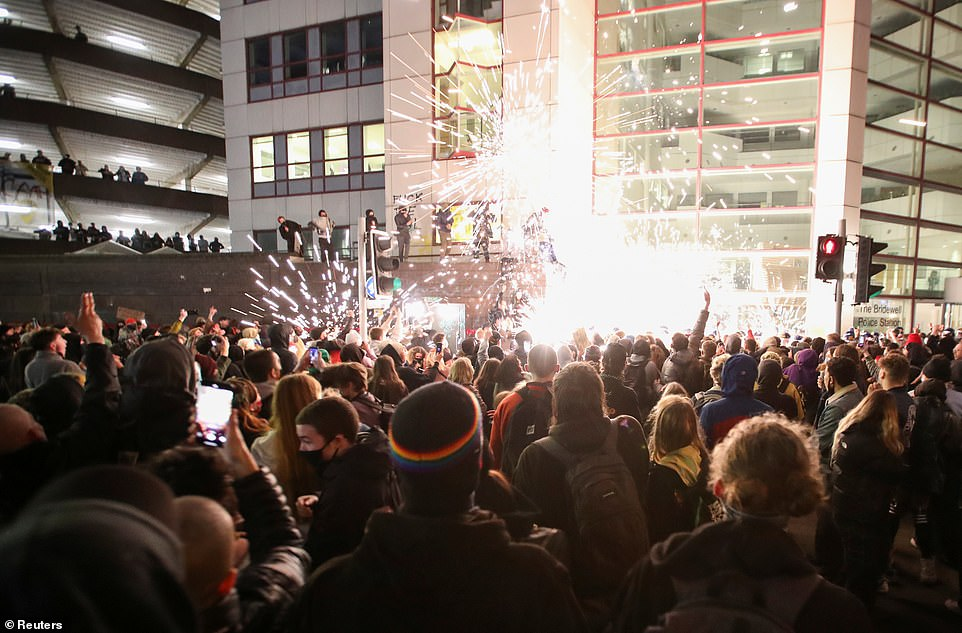 Around 3,000 protestors gathered at Sunday's demonstration, with fireworks let off in the street and little room for social distancing