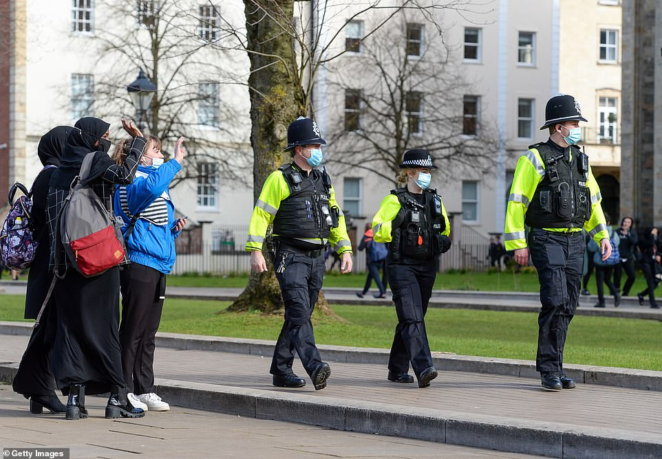 Police are seen at College green prior to the protest on Friday afternoon