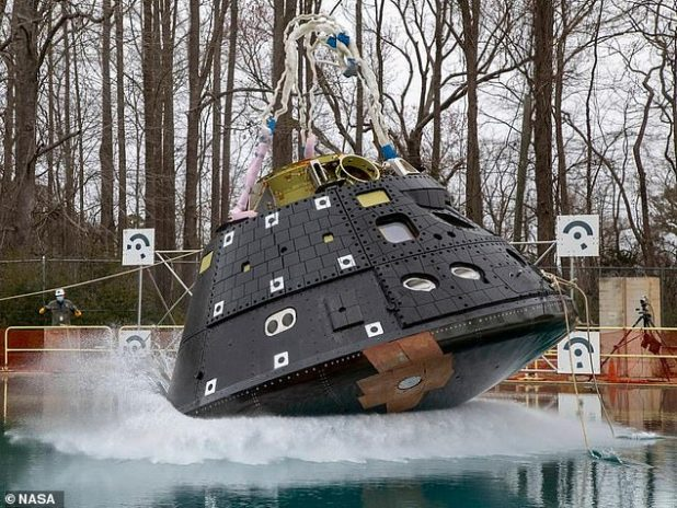 NASA conducted the first of four planned splash tests of the Orion spacecraft to simulate its landing in water after returning from planned Artemis missions.