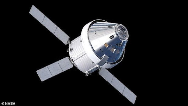 In November, NASA detected a fault with a component in one of Orion's energy data units, but indicated that this would not delay the launch of Artemis I. In the image: a representation of Orion in orbit