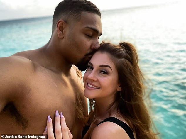 Loved-up: Jordan announced his engagement to mother-of-two Naomi last January when he proposed during a trip to the Maldives after almost five years together