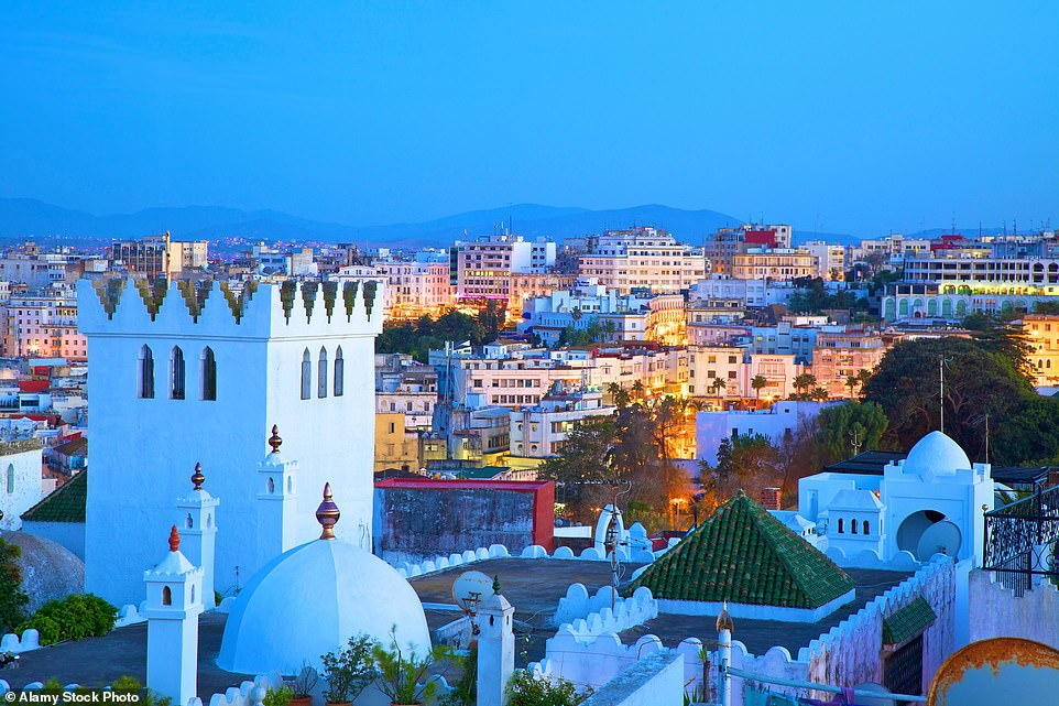 African escape: A view over the normally bustling city of Tangier, where Glenys Roberts has been locked down for more than a year
