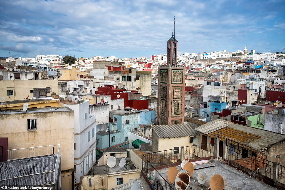 Tangier, pictured, is just 20 miles from Spain across the Straits and just 2.5 hours by plane from Gatwick