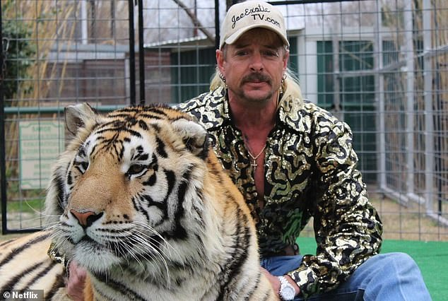 Locked away: His career came crashing down in 2019, when he was charged with 17 federal counts of animal abuse and two counts of attempted murder. He was convicted and sentenced to 22 years in prison; still from Tiger King