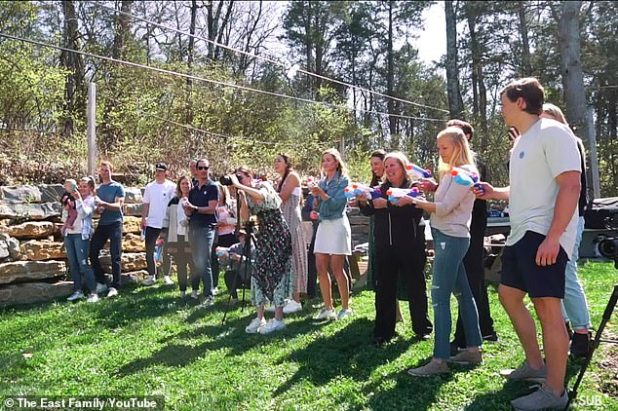 Exciting: The duo reunited friends and family for an outdoor gender reveal