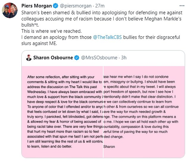 Piers Morgan expressed his disappointment after Osbourne apologized