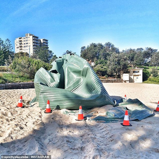 Some perplexed beachgoers thought the tank might have been an art installation (pictured)