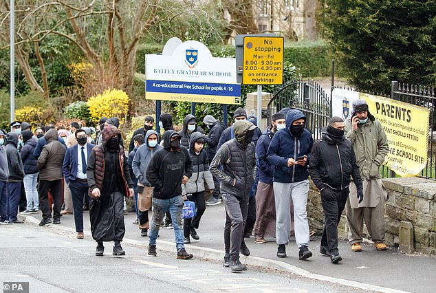 Protestors gathered outside the school on Friday.A protester speaking 'on behalf of the Muslim community' said: 'The teachers have breached the position of trust'