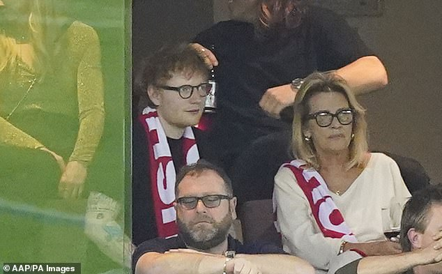 In town:Ed Sheeran is currently in Australia with his wife and family, after performing at music mogul Michael Gudinski's funeral on Wednesday. On Saturday, the British singer, 30, attended the AFL match between the St Kilda Saints and Melbourne Demons at Marvel Stadium in Melbourne, sitting alongside Michael's widow SueGudinski