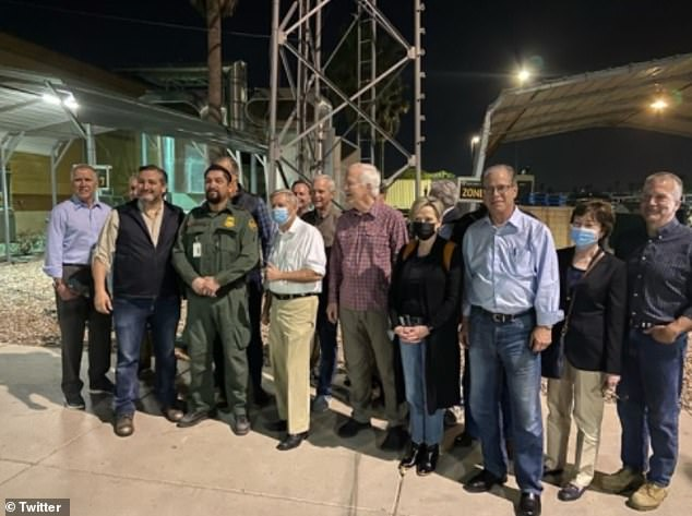 Republican senators say Biden officials urged them to delete photos they took of an overcrowded migrant facility they toured at the southern border on Friday. Members of the group are seen in Texas on Friday