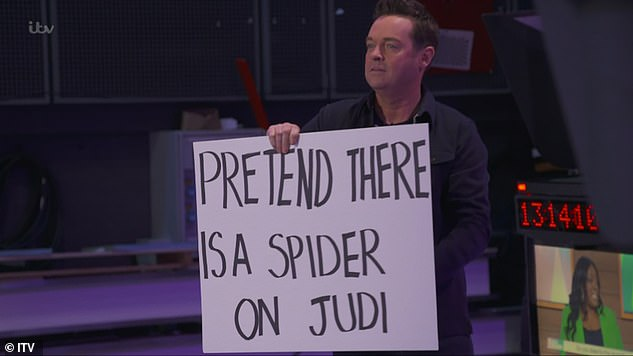 Fun:In the final 15 minutes of the lunchtime talk show, panellist Judi Love suddenly started screaming that there was a spider loose in the studio, prompting moderator Charlene White to assure her: 'It's not there!' - after Stephen asked her to do it