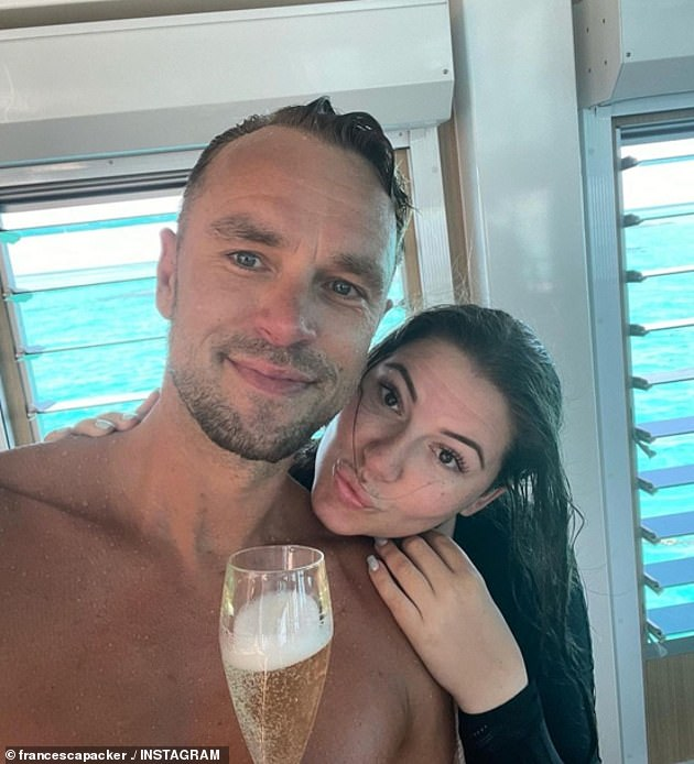 Young love:The socialite confirmed she and Adam Cooper (left) were a couple in an interview with The Daily Telegraph in December