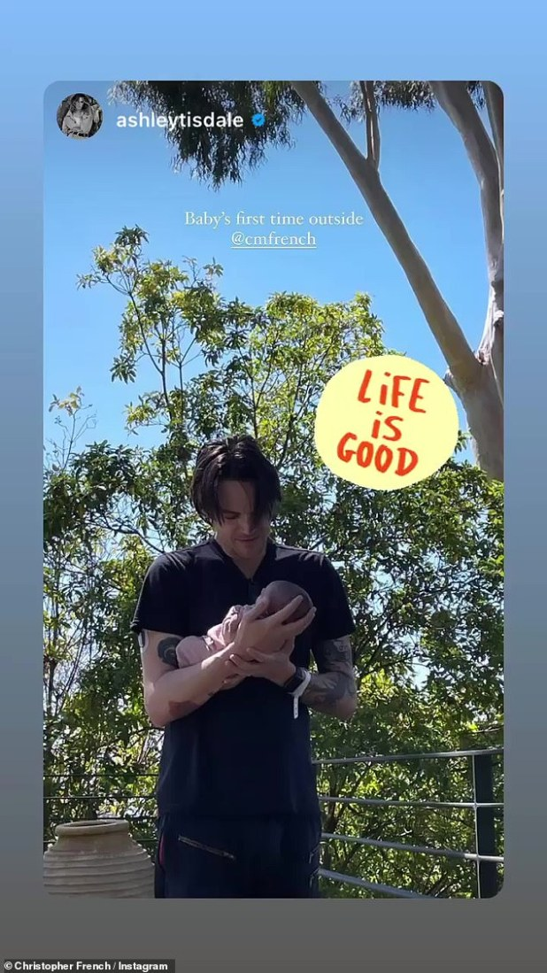 A moment of life captured by the camera: French, 39, also shared his daughter's post 'first time outdoors' and commented: 'Life is good'