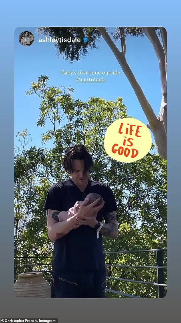 A life moment captured on camera: French, 39, also shared the post of his daughter 'first time outside' and commented: 'Life is good'