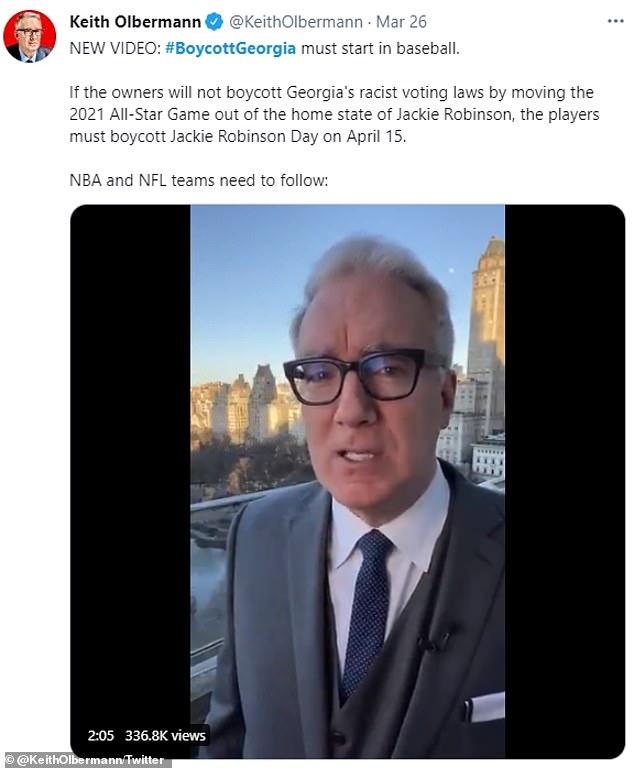 American sports commentatorKeith Olbermann tweeted that baseball must lead the #Boycott Georgia movement