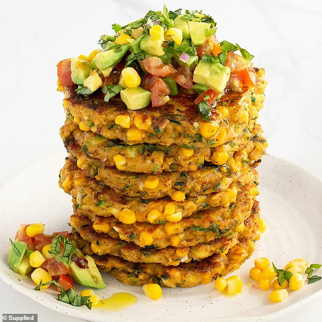A top Australian nutritionist has shared the 'lazy dinner' recipe she swears by (the corn and zucchini fritters pictured), and it's quick and easy to make as well as healthy